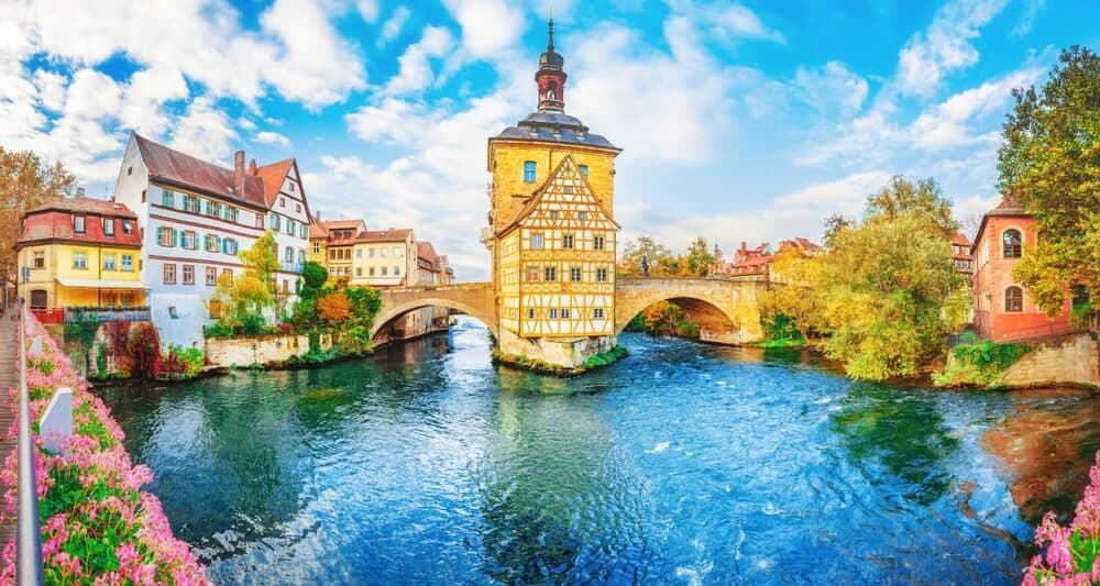 Yellow House over water on the Romantic Road Germany