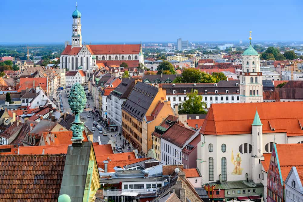 Augsburg skyline with Baroque church tower onion dome on the Romantic Road Germany