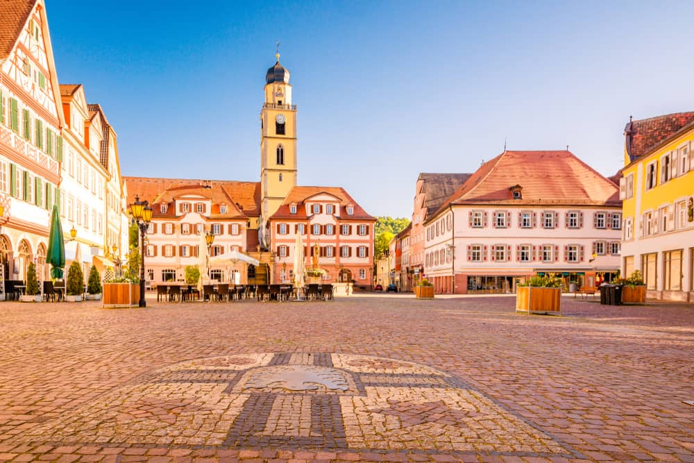 marketplace town square in Bad Mergentheim on the Romantic Road Germany