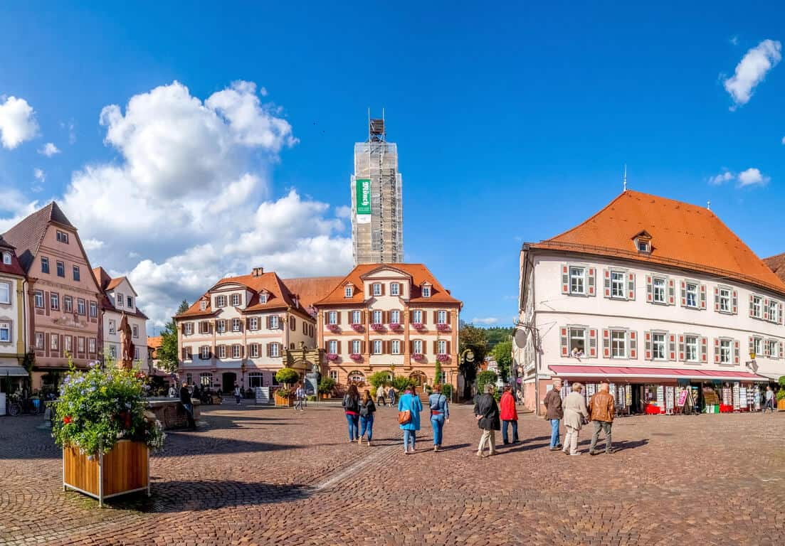 Market center in Bad Mergentheim on the Romantic Road Germany