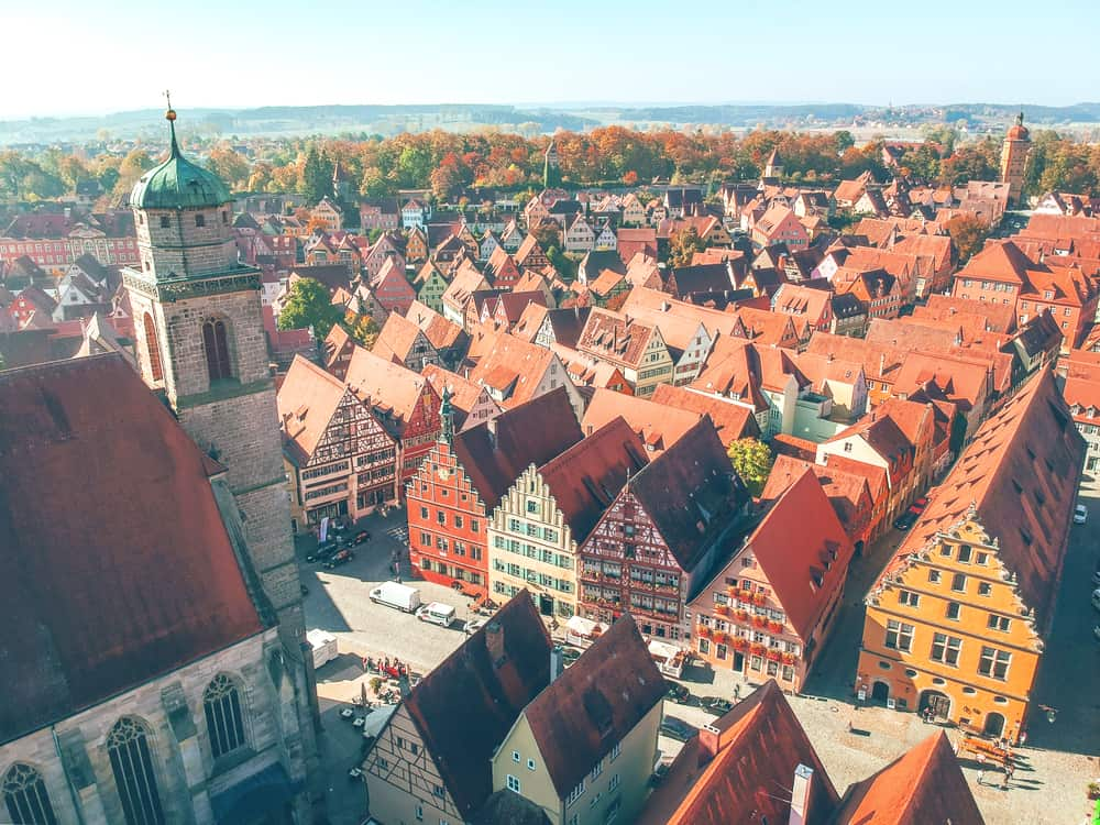 half-timbered houses in Dinkelsbuhl on the Romantic Road Germany