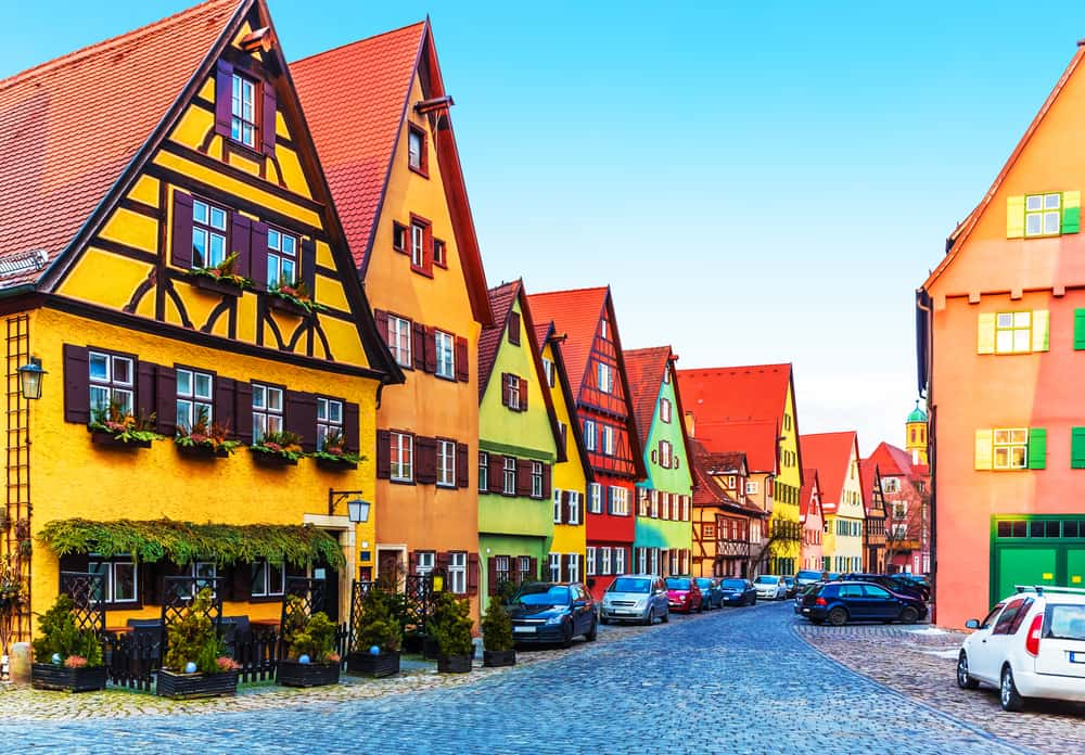 colorful half-timbered houses of Dinkelsbuhl on the Romantic Road Germany