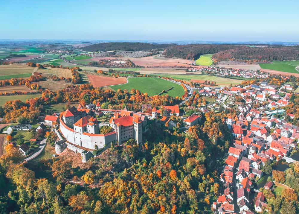 Harburg Castle from above on the Romantic Road Germany