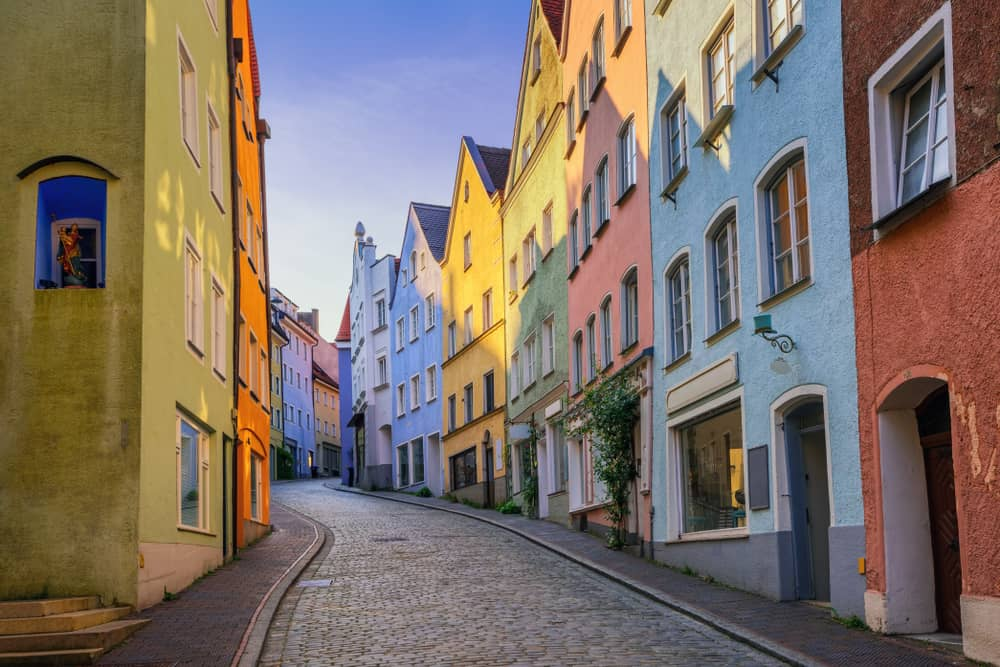 pastel colored houses in Landsberg am Lech on the Romantic Road Germany