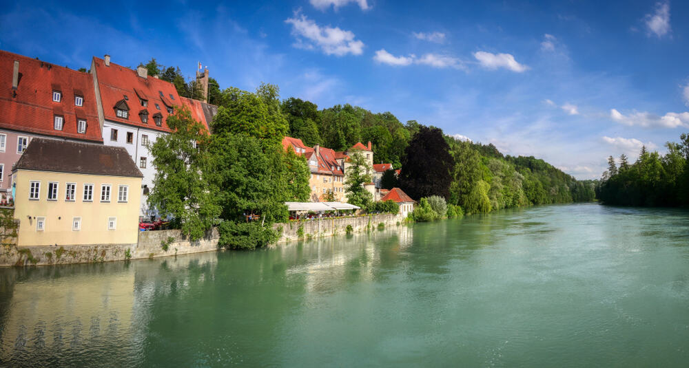 Landsberg am Lech on the Romantic Road Germany seen from the river