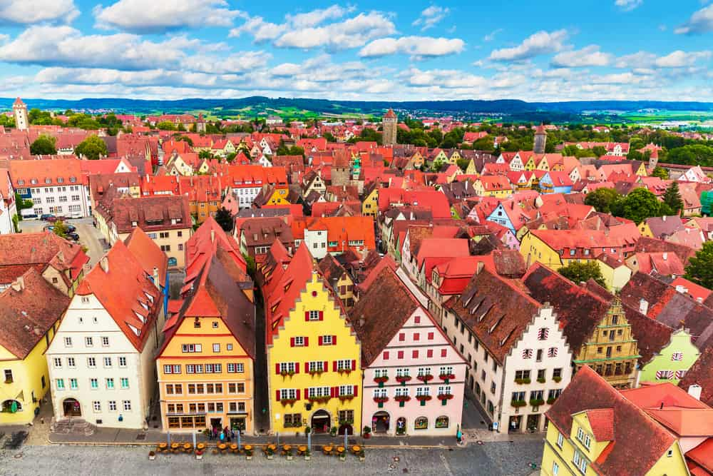 well-preserved town of Rothenburg ob der Tauber half-timbered houses on the Romantic Road Germany