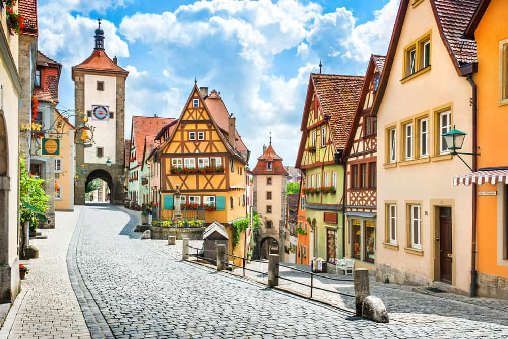 Iconic preserved medieval town Rothenburg ob der tauber on the Romantic Road Germany