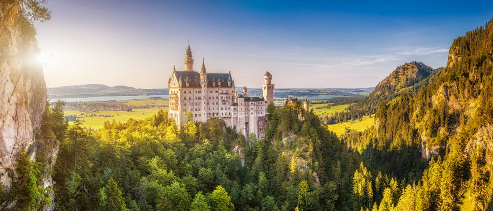 Neweschenstein Castle seen from a trail in Schwangau on the Romantic Road Germany