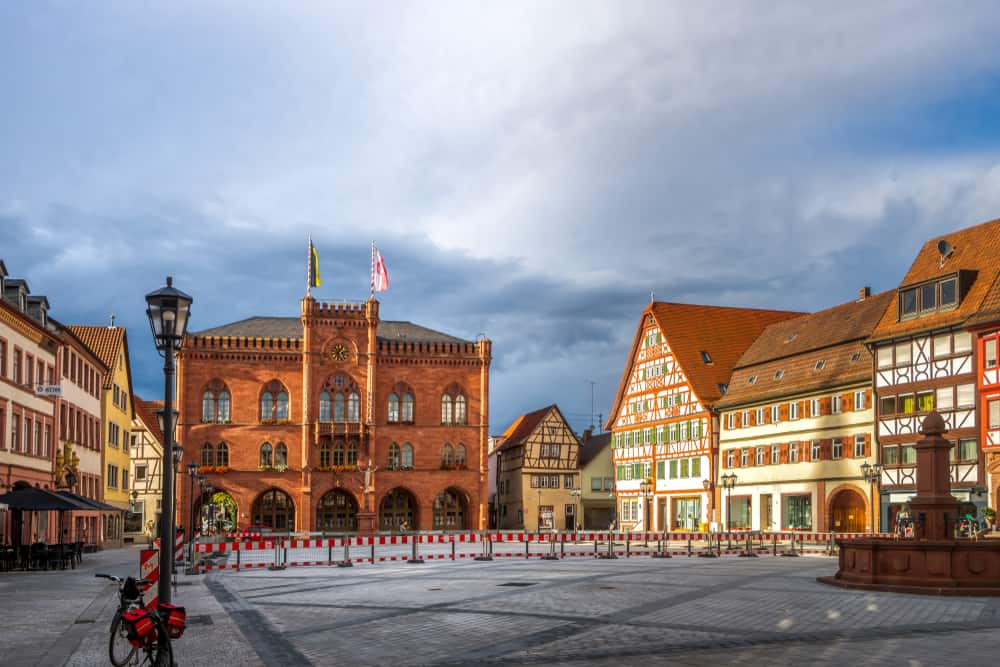 the marketplace with it's half timbered houses in Tauberbischofsheim on the Romantic Road Germany
