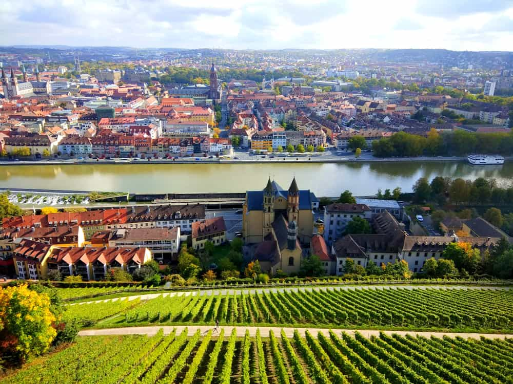 View of Wurzburg city on the Romantic Road Germany from the vineyard