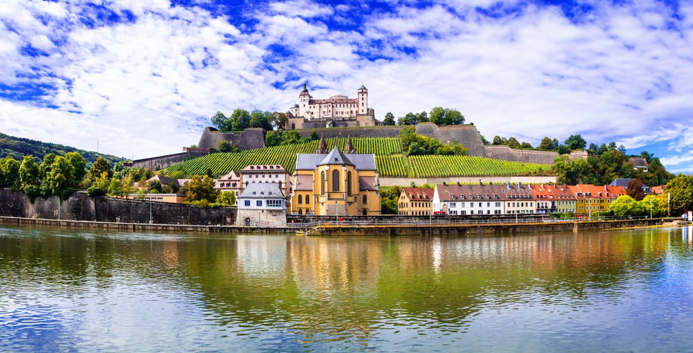 View of the fortress from the Main in Wurzburg Germany on the Romantic Road Germany