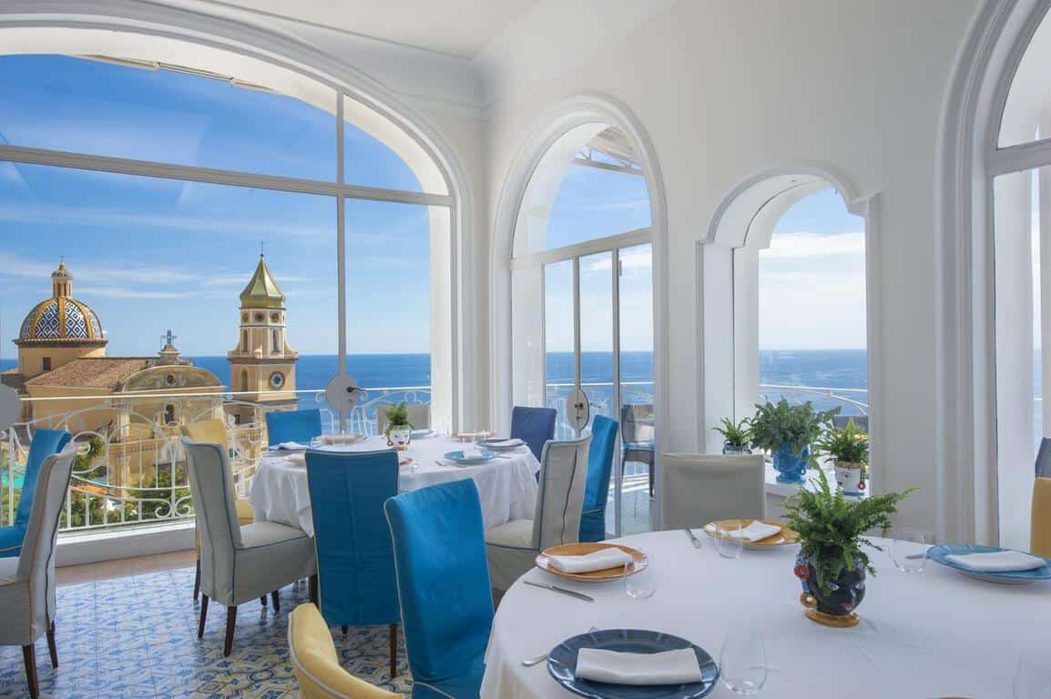 A view of the dining room in Tramonto d''Oro, Praiano. It's where to stay on the Amalfi Coast!
