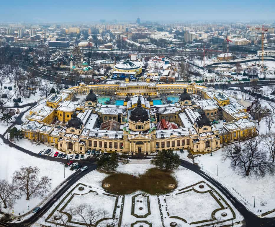 Aerial view of Szechenyi Thermal Bath during Budapest in winter