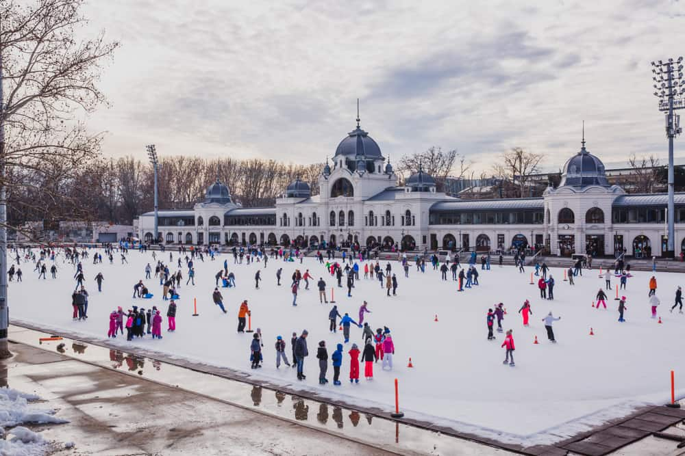 Ice skating at Europe's largest ice skating rink can be found at City Park during Budapest in winter