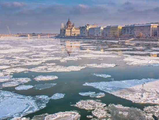 Frozen Danube River during Budapest in winter