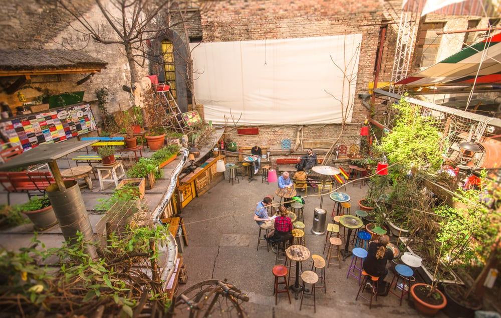 Szimpla Kert is a famous ruin bar that boasts a fun night life especially during Budapest in winter