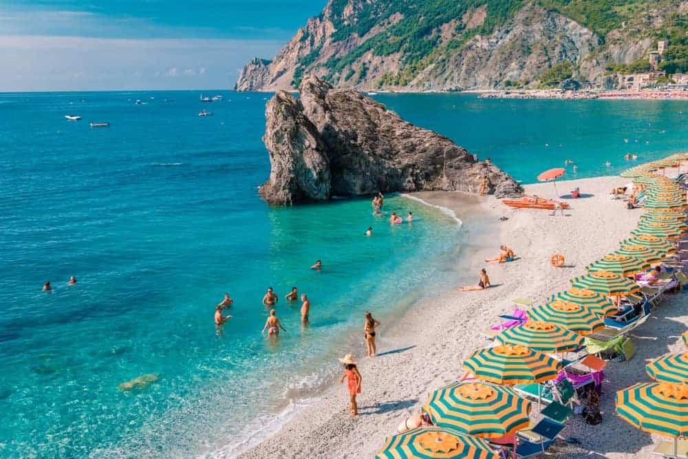 swimmers on Fegina Beach in Cinque Terre