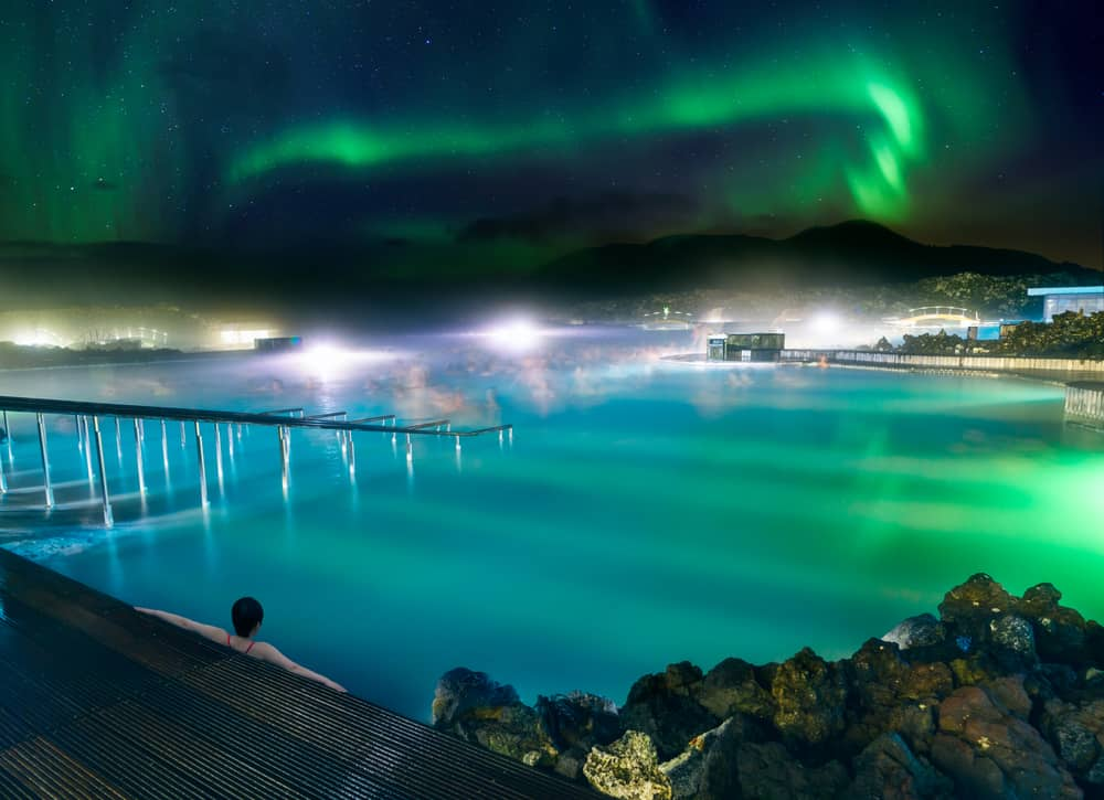Northern Lights over the Blue Lagoon in Iceland in January