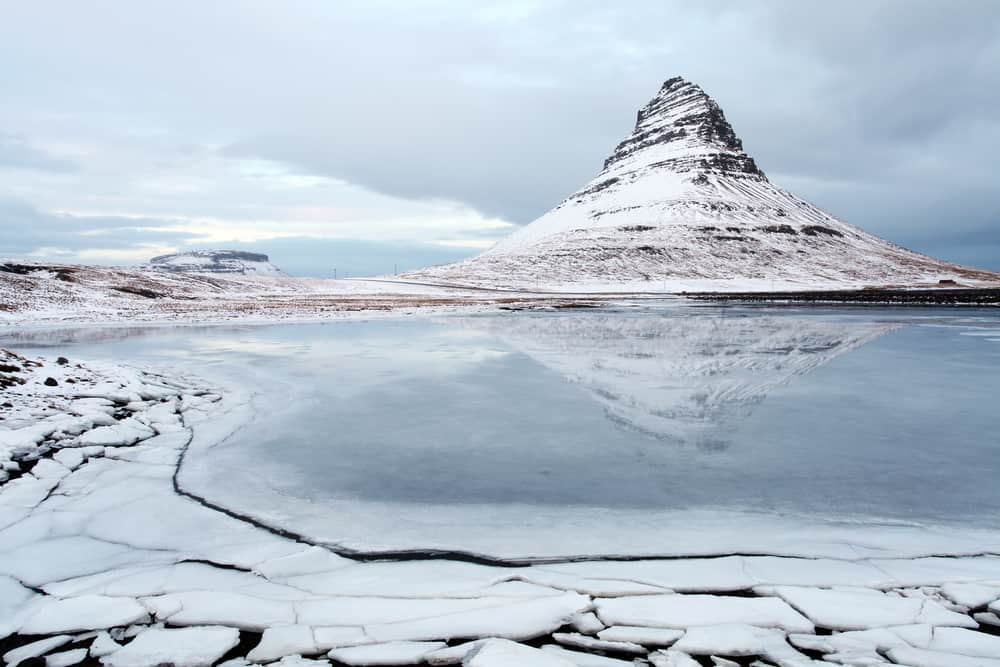 Kirkjufell Mountain with snow and ice in Iceland in January