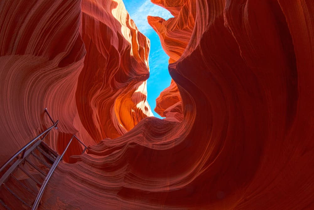 a ladder descending into Lower Antelope Canyon