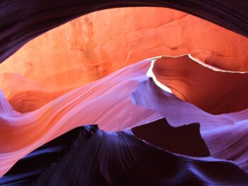 a sunset rock formation in Lower Antelope Canyon