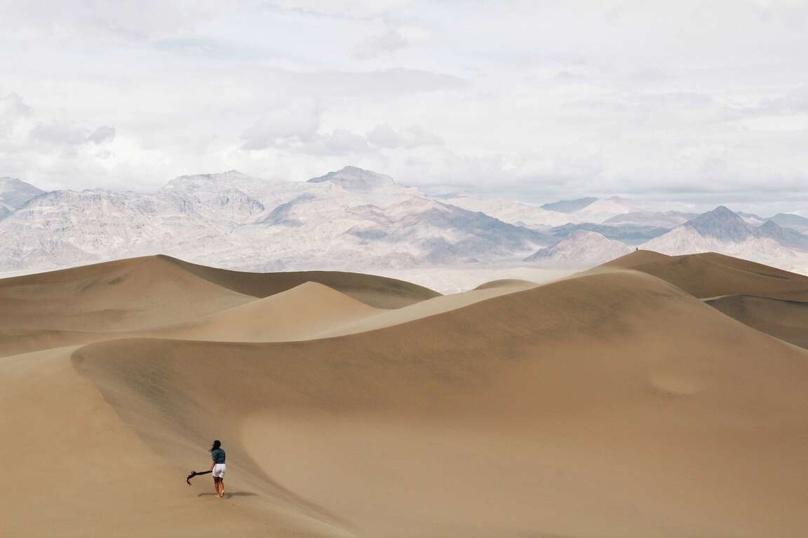one of the first things to do in Death Valley is stop at the mesquite flat sand dunes