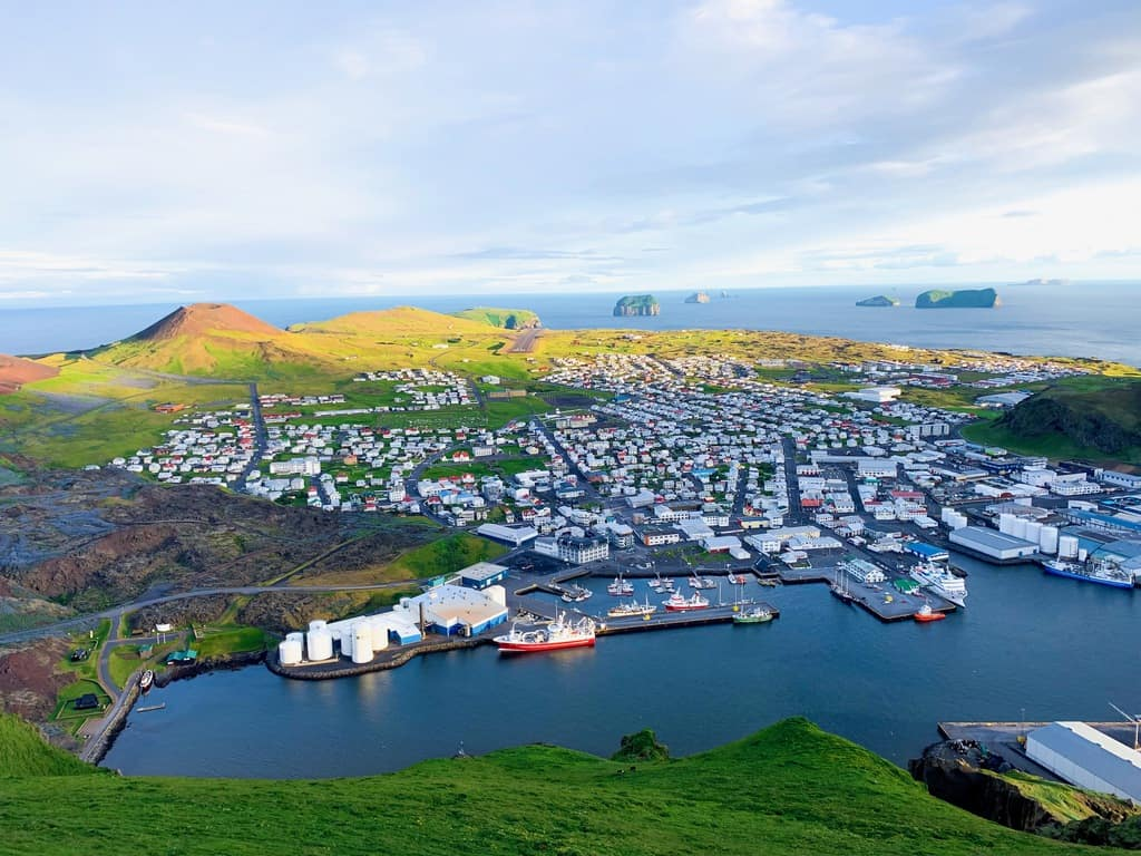 view of the city and people in the westman islands Iceland
