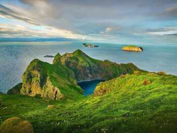 fantastic sunset views from a hike in the westman islands