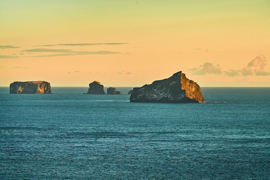 sunset along the westman islands chain