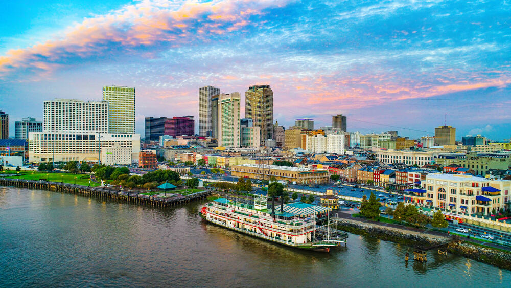 Steamboat and sunset in New Orleans