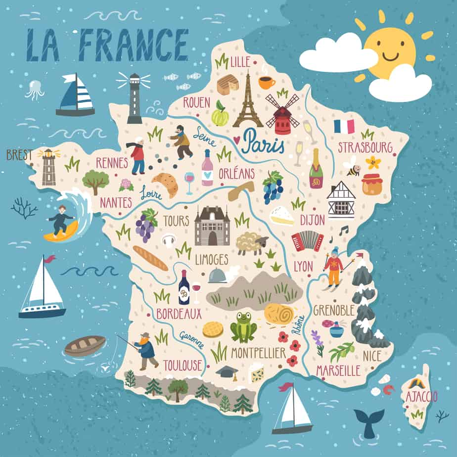 A cute map of France to help with your France Road Trip