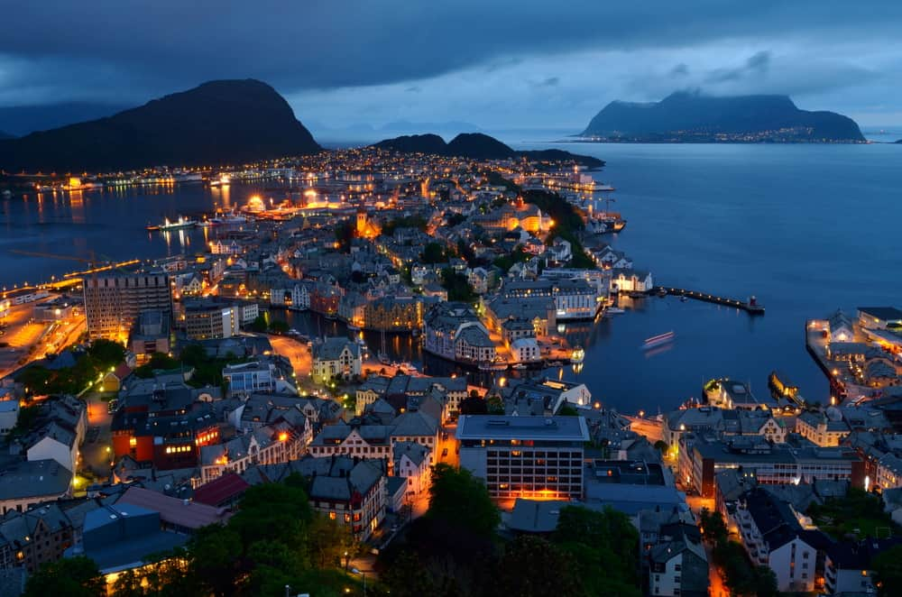 Norway Itinerary Photo of Ålesund from Mt Aksla at Night