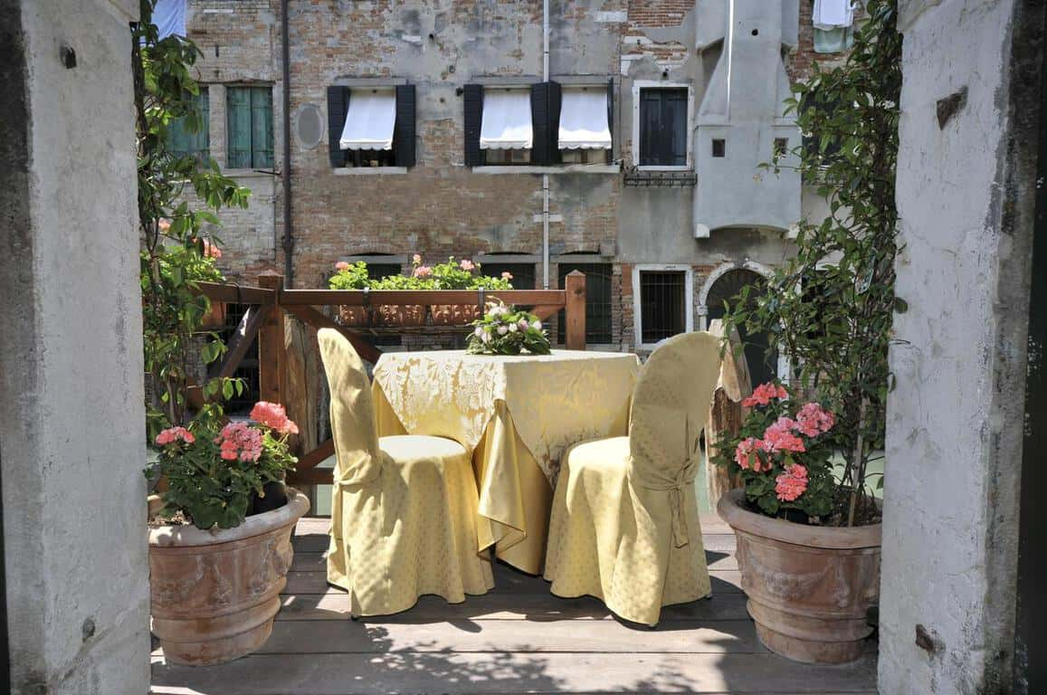 A patio of the lovely Alla Vite Dorata, a great choice of where to stay in Venice