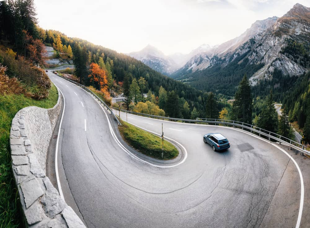 Photo of windy road in Switzerland