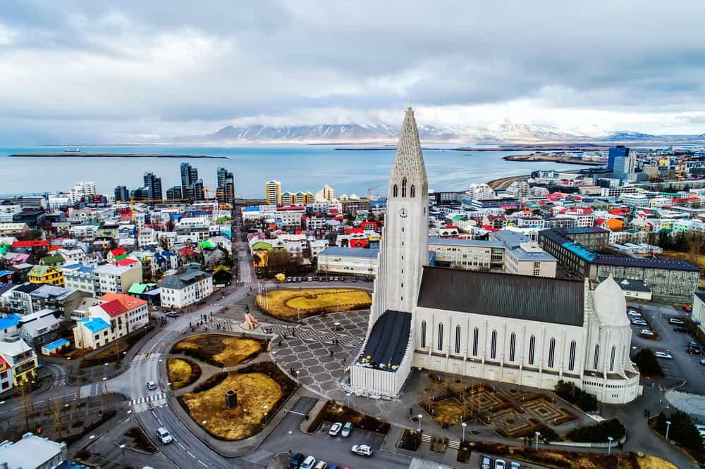 european capitals reykjavik iceland overhead view