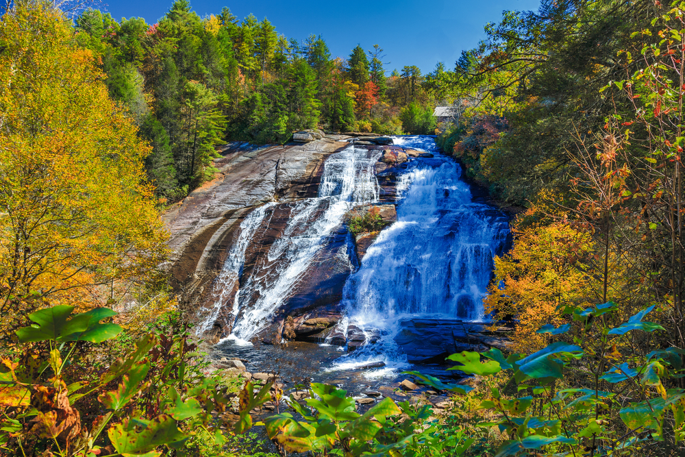 Dupont falls is one of the best places for fall in north carolina