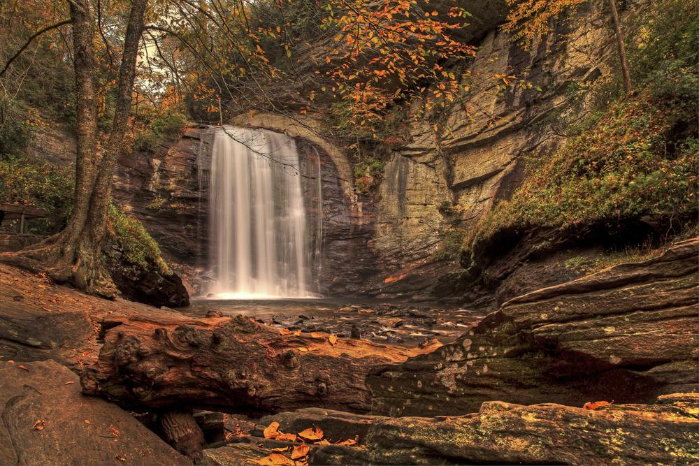 looking glass falls with fall foliage in north Carolina