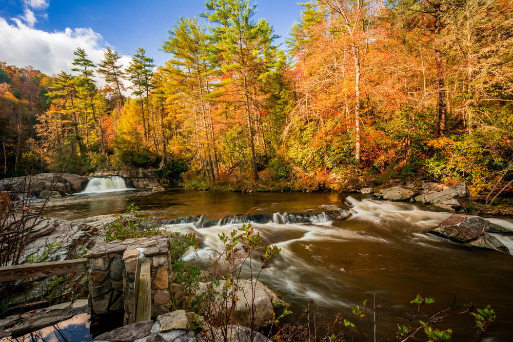 linville falls is one of the best places to see fall colors in NC