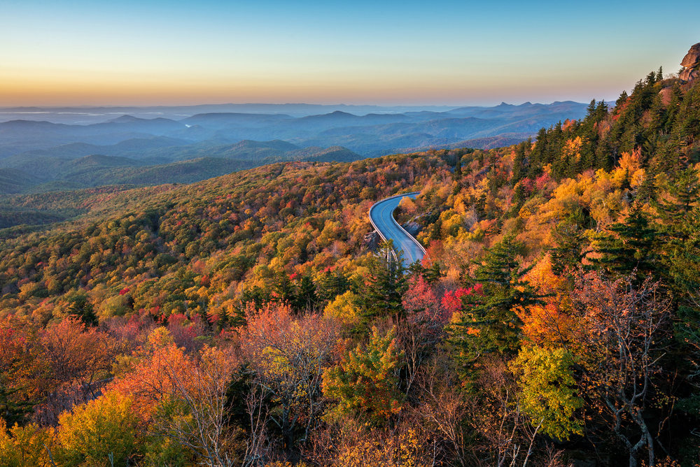 lynn cove viaduct is one of the best places to see fall in north carolina