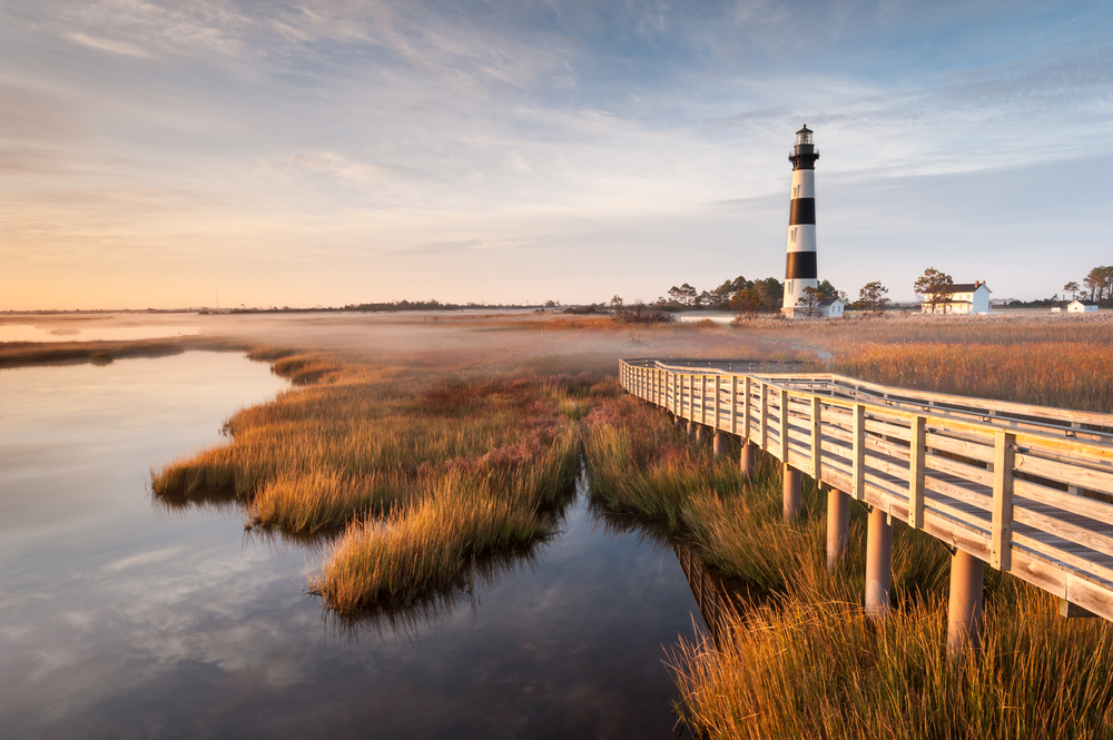 lighthouse in the outerbanks of North carolina at sunset