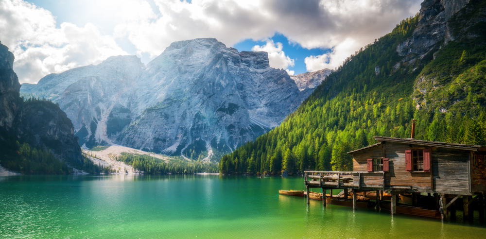 One of the alpine lakes in Italy in the Dolomites, Lake Braies