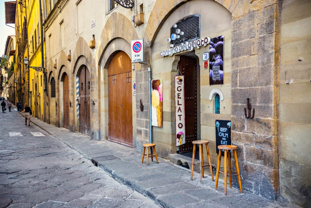 gelato shop on an empty street in Florence