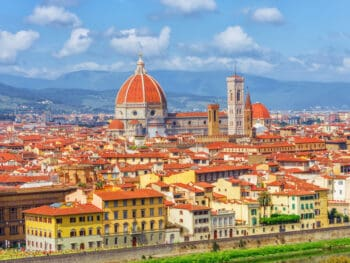 far away view of the piazza del duomo in Florence