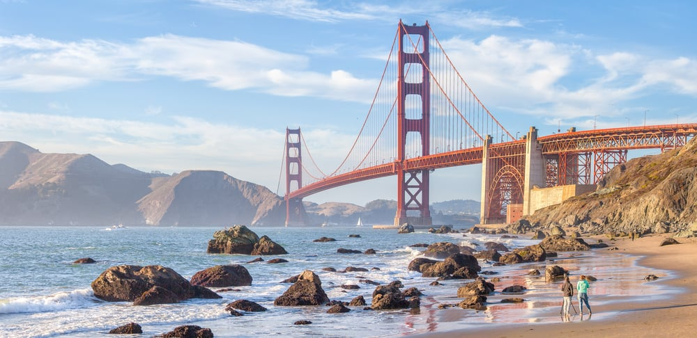 the Golden Gate Bridge in San Francisco on your west coast road trip