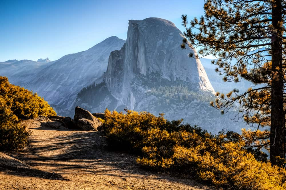 the Half Dome trail view in Yosemite National Park on your west coast road trip