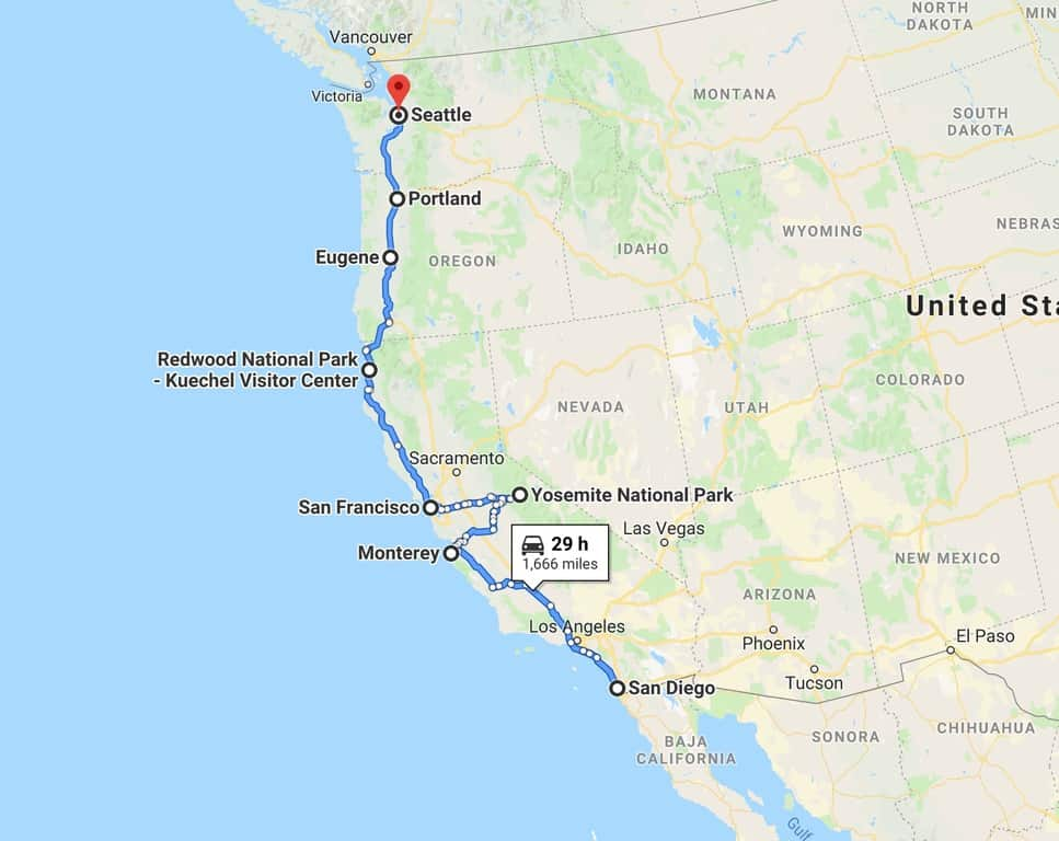 map of your west coast road trip route