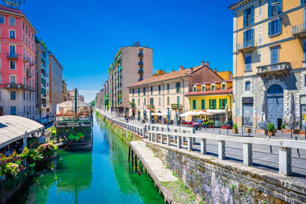 Naviglio grand canal in Milan. A great choice of where to stay in Milan