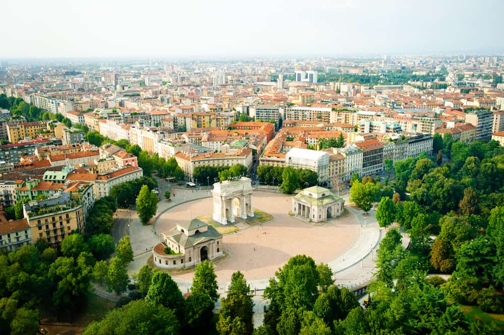 A beautiful aerial view of Milan. No matter what you choose, there's no bad choice of where to stay in Milan