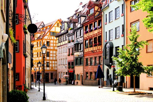half-timbered houses in Nuremberg on your Germany road trip