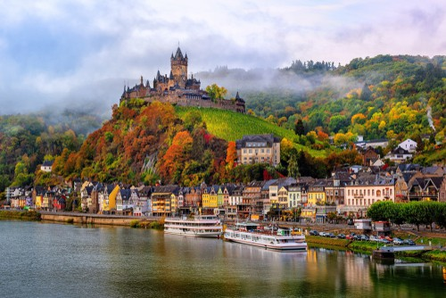 the Reichsburg Castle in Cochem in the Mosel Valley on your Germany road trip